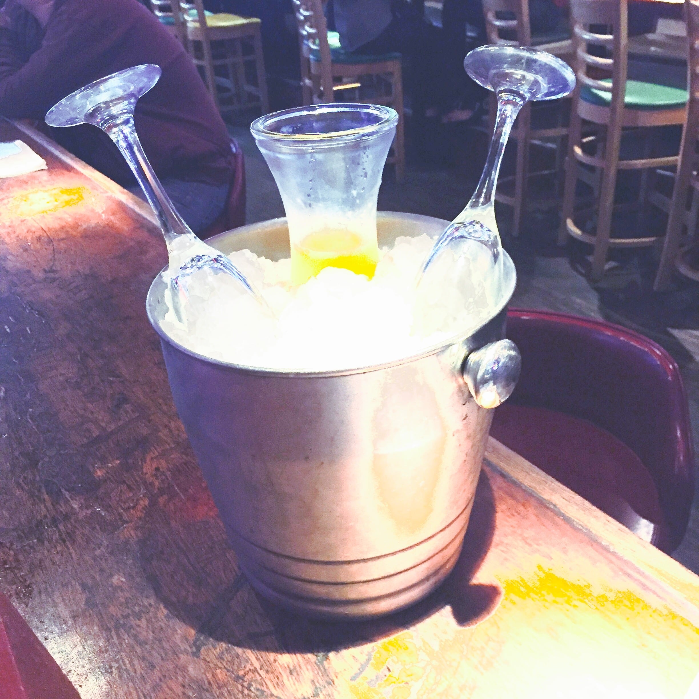 Champagne Bucket with carafe of Mimosas and two glasses