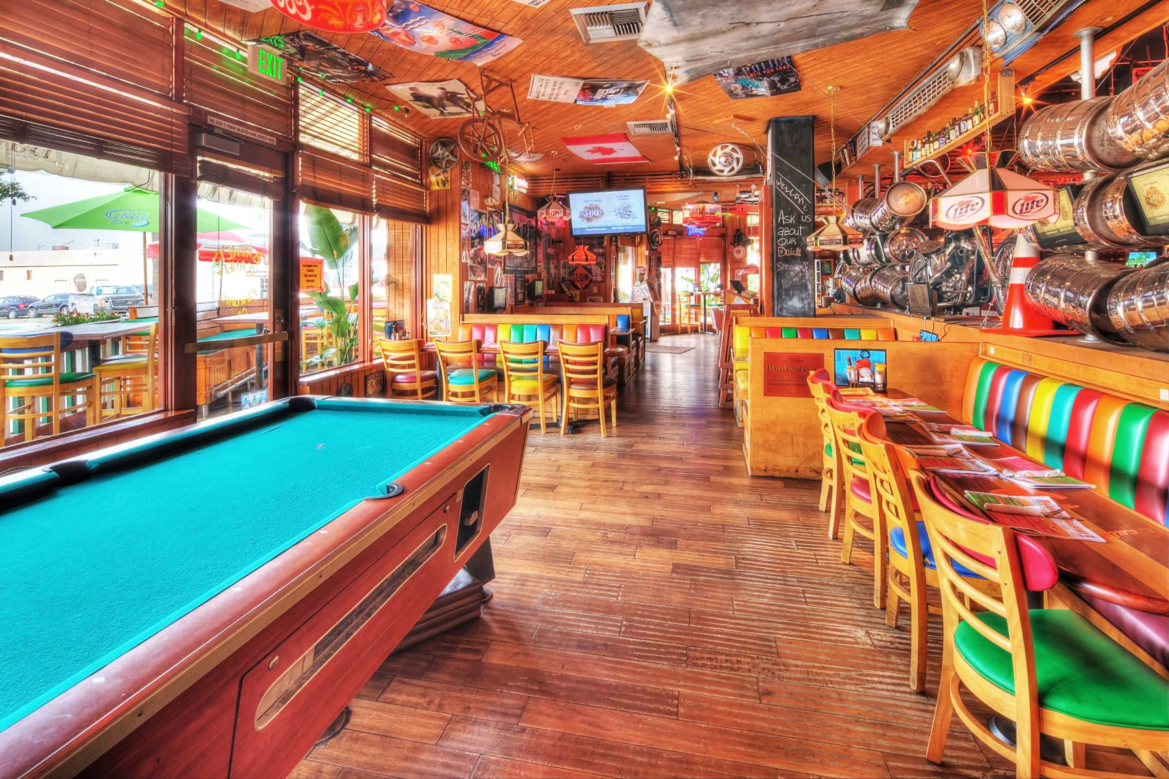 Burbank pool table and front seating