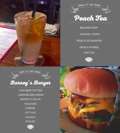 Peach Tea and Barney's Burger pictures and description