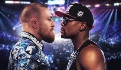 Mayweather and McGregor staring at each other